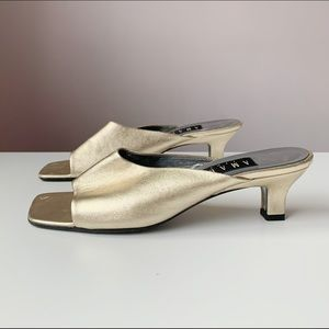 1990s perfect gold square toe mules